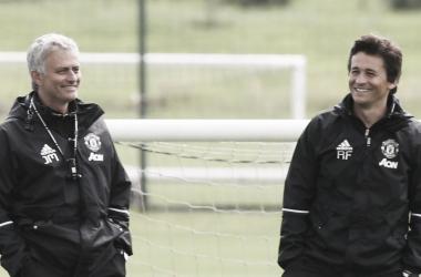 José Mourinho y Rui Faria en un entrenamiento. | Foto: Manchester United.