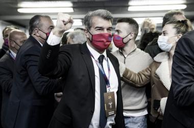 Laporta, tras verse ganador de las elecciones. Foto: FC Barcelona.