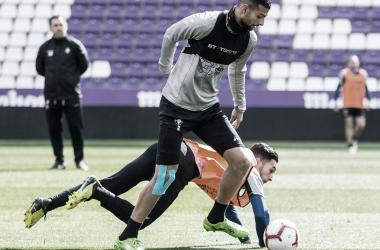 Joaquín y Anuar en un entrenamineto (foto RealValladolid.es)