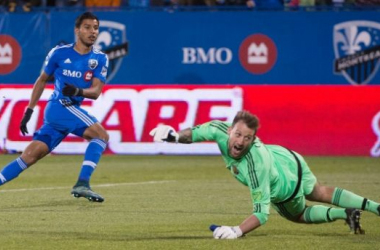 Montreal Impact forward Johan Venegas (Left) is scoring the game winner on Sunday in the 77th minute at the Stade Saputo. His goal gave the Impact the 2-1 victory in the first leg of the Eastern Conference Semifinals. Photo provided by Canadian Press.