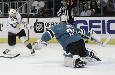 San Jose Sharks' goalie Martin Jones stops a shot by Jonathan Marchessault Golden Knights in Game 4 action. | AP Photo/Jeff Chiu