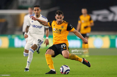 Jonny looks to play a pass during Wolves' 1-0 win over Leeds United last Friday. (Photo by Catherine Ivill/Getty Images)