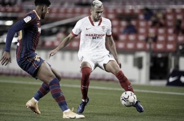 Partido ajustado entre el Barça y el Sevilla