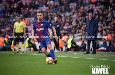 Jordi Alba durante un partido con el Barcelona/ Foto: Vavel