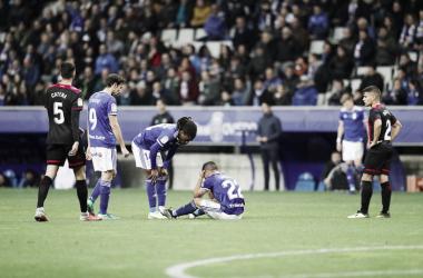 Joselu tras su lesión ante el Reus | Imagen: Real Oviedo