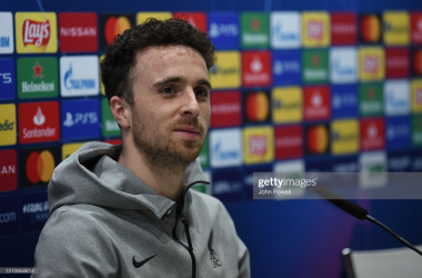 MADRID, SPAIN - APRIL 05: (THE SUN OUT. THE SUN ON SUNDAY OUT) Diogo Jota of Liverpool during the press conference at Estadio Alfredo Di Stefano on April 05, 2021 in Madrid, Spain. (Photo by John Powell/Liverpool FC via Getty Images)