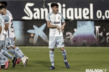 Jozabed en su celebración de gol frente al Mirandés / Foto: Málaga CF