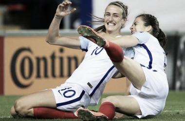 Jill Scott celebrates after scoring a late equaliser against Belgium. Credit : mcfc.co.uk