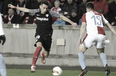 Munir en el último partido de UEL | Foto: Sevilla FC