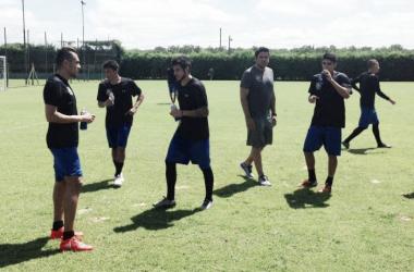 Arango, primero a la izquierda, a las ordenes de Daniel Farías en Argentina. FOTO: Prensa Zulia FC