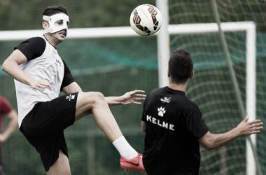Juanpe entrenando con la máscara | Fuente: Real Racing Club.