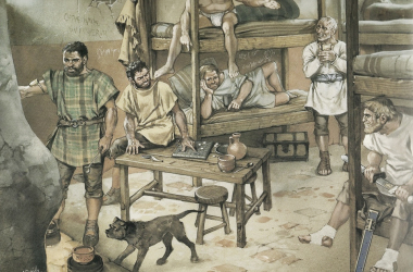 Ciudadanos romanos apostando clandestinamente | Ilustración de Javier Sanz (Historias de la historia)
