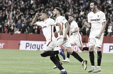 Jugadores del Sevilla FC en el último encuentro en Nervión | Foto: Sevilla FC