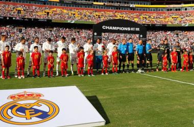 Los jugadores del Real Madrid en línea. Fuente: Real Madrid