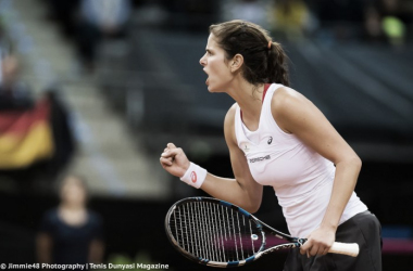 Julia Goerges celebrates winning a point | Photo: Jimmie48 Tennis Photography