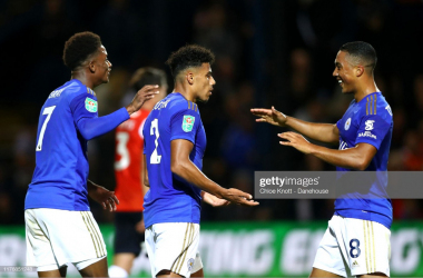 James Justin is congratulated by his team mates following his first Leicester City goal | Photo: Getty/ Chloe Knott - Danehouse