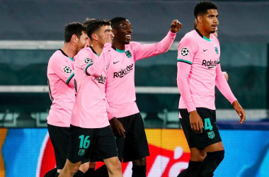 L'esutanza dei giocatori del Barça dopo il gol del vantaggio di Dembelé. | Foto: Twitter @FCBarcelona.