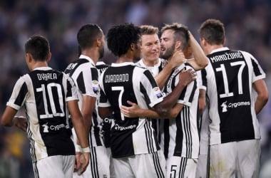 Les joueurs de la Juventus autour de Pjanic auteur du second but. (Twitter: @juventusfc)
