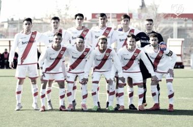 Once del Juvenil A durante un partido. Fotografía: Rayo Vallecano S.A.D