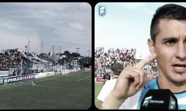 Estadio Luis Delfino. Zampedri, figura y goleador de la tarde. (Foto: Fútbol para todos).