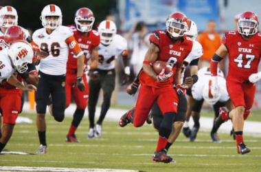 Kaelin Clay returning the kickoff for a touchdown against Idaho State (Jeffrey D. Allred / Deseret News)