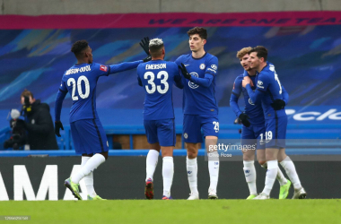 Timo Werner of Chelsea celebrates with team mates (L - R) Callum Hudson-Odoi, Emerson Palmieri, Kai Havertz and Mason Mount after scoring their side's second goal during the FA Cup Third Round match between Chelsea and Morecambe at Stamford Bridge on January 10, 2021 in London, England.(Photo by Clive Rose/Getty Images)