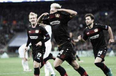 Kevin Kampl celebrando el único tanto del partido   Fuente: bayer04.de