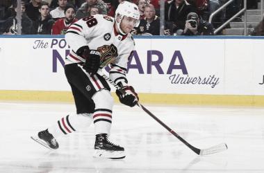 Patrick Kane en el KeyBank Center de Buffalo | Foto Bill Wippert / NHLI via Getty Images