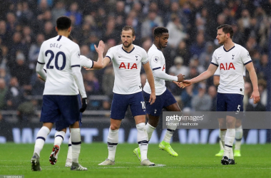 <div>LONDON, ENGLAND - DECEMBER 26: Dele Alli of Tottenham Hotspur celebrates with teammates after scoring his teams second goal during the Premier League match between Tottenham Hotspur and Brighton & Hove Albion at Tottenham Hotspur Stadium on December 26, 2019 in London, United Kingdom. (Photo by Richard Heathcote/Getty Images)</div><div><br></div>