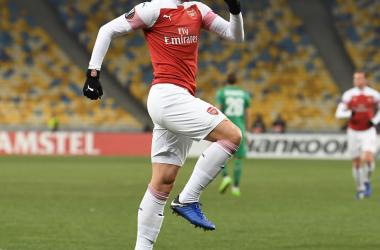 Smith-Rowe celebra el primer gol del partido   Foto: @Arsenal