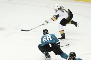 Vegas Golden Knights' William Karlsson wins Game 3 with this overtime shot. (Photo: www.reviewjournal.com)
