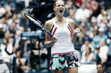 Karolina Pliskova lets out a huge roar after winning the match | Photo: Jimmie48 Tennis Photography