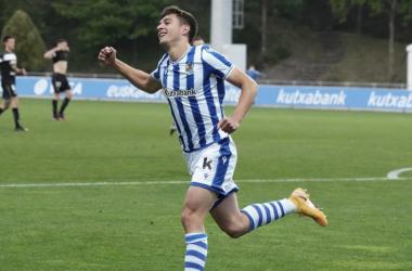 Jon Karrikaburu celebra su gol marcado ante el Tudelano. // Foto: Real Sociedad