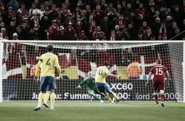 Kasper Schmeichel in action for Denmark on Friday night (Photo: BPI/ Matt West)