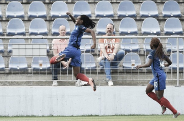 Marie-Antoinette Katoto celebrates putting France ahead in the second half. (Photo: Sportsfile)