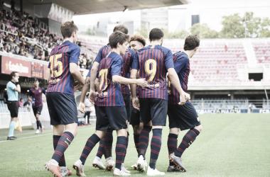 Los azulgranas celebran un gol | Foto: Noelia Déniz, VAVEL