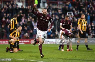 Aidan Keena scored the third and decisive penalty tonight for Hearts. Photo by Ian MacNicol/GettyImages