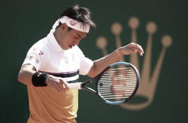 Nishikori con gesto contrariado durante el partido de hoy ante Herbert. Foto: gettyimages.es