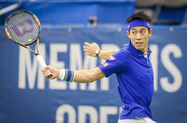 Kei Nishikori return a shot against Ryan Harrison/Photo: Memphis Open