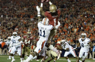 Florida State's Kelvin Benjamin catches a touchdown pass in the 2014 BCS National Championship Game (Robert Hanashiro / USA Today Sports)