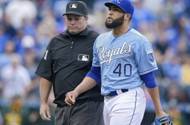 Kelvin Hererra was ejected after throwing at Brett Lawrie. -- John Sleezer, Kansas City Star