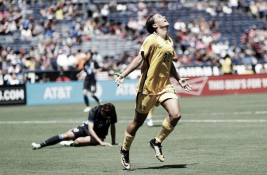 Kerr in a match against Japan | Photo: Gregory Bull - AP