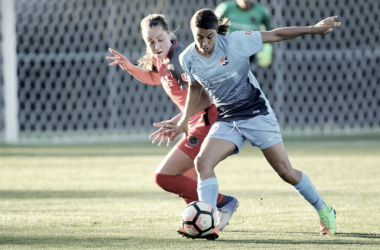 Sam Kerr (right) contributed an assist and two goals for Sky Blue's win in Portland l Source: SkyBlueFC on Twitter
