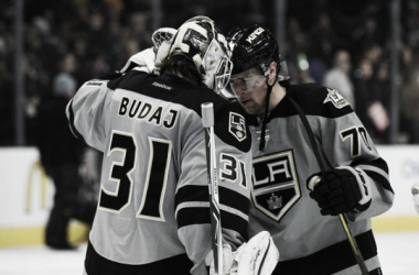 Los Angeles Kings after win over San Jose Sharks on Saturday night.   Photo: USA Today Sports