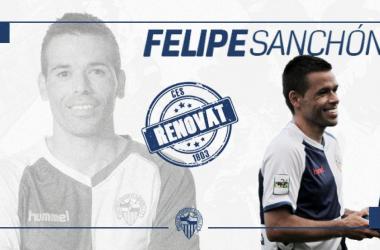 Felipe Sanchón seguirá vistiendo la camiseta arlequinada   Fotomontaje: CE Sabadell