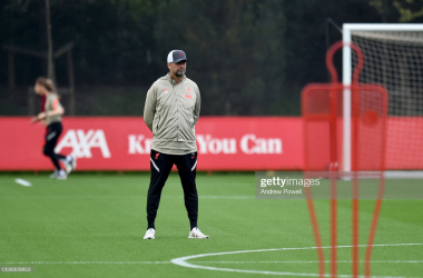 KIRKBY, ENGLAND - SEPTEMBER 09: (THE SUN OUT, THE SUN ON SUNDAY OUT) Jurgen Klopp manager of Liverpool during a training session at AXA Training Centre on September 09, 2021 in Kirkby, England. (Photo by Andrew Powell/Liverpool FC via Getty Images)
