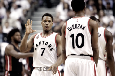 Kyle Lowry and DeMar DeRozan will once again be the leaders of their squad. Photo: Tom Szczerbowski - USA TODAY Sports