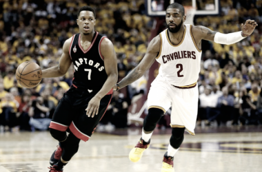 A possible backcourt with Kyle Lowry and Kyrie Irving would be interesting to say the least. Photo: Jack Boland/Toronto Sun/Postmedia Network