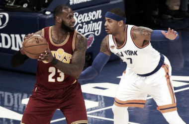 Cleveland Cavaliers Forward LeBron James (23) holds the ball against New York Knicks Forward Carmelo Anthony (7). Photo Courtesy of Brad Penner-USA TODAY Sports.