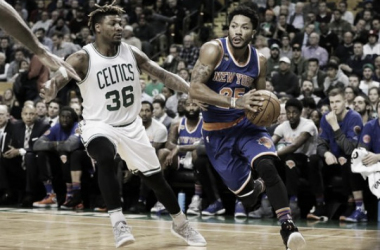 New York Knicks guard Derrick Rose drives the ball past Boston Celtics Guard Marcus Smart (36). Photo: David Butler II-USA TODAY Sports.